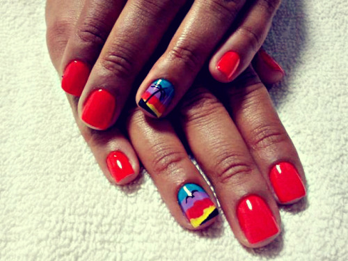 Fun Beach Sunset Nails on my cousin Janina's hands!  Love it!