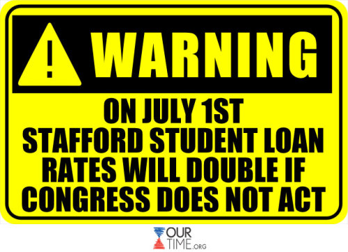 The government has ONE WEEK to extend reduced student loan interest rates—if it fails to do so, there will be a $1000 fee hike per student.  REBLOG this to spread the news and LIKE to let us know your thoughts.   For more translations, visit www.ourtime.org.