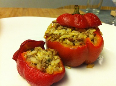 Sweet bell peppers from Springdale Farm stuffed with Texas brown rice and wild boar chorizo from Dai Due.