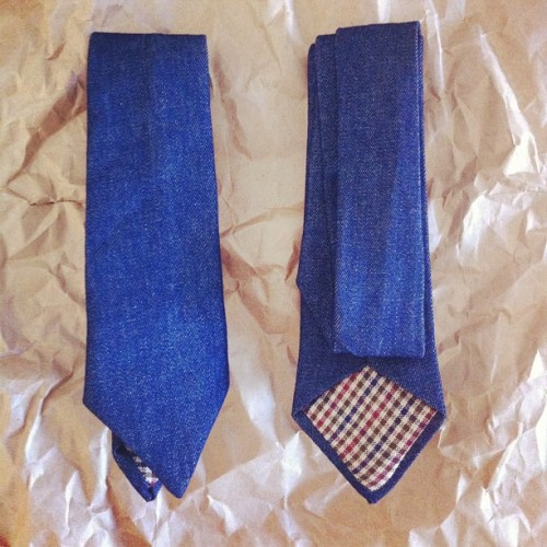 "We have denim neckties. Use the promo code ""instagram"" for $15 off (Taken with Instagram)"