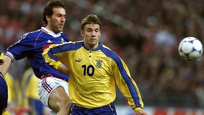 Laurent Blanc and Andriy Shevchenko