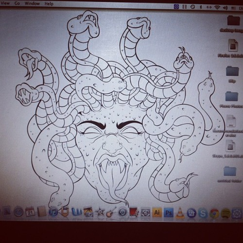 Medusa makes a dope ass screen saver. :) #greekgods #medusa #mythology #artwork  (Taken with Instagram)