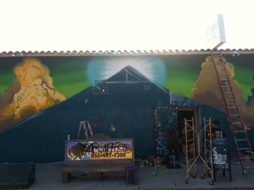I started a new mural yesterday and here is the beginning process. We will have a video up when I finish and Roger's on the camera so it's gonna be crazy!!! Stay tuned earth people