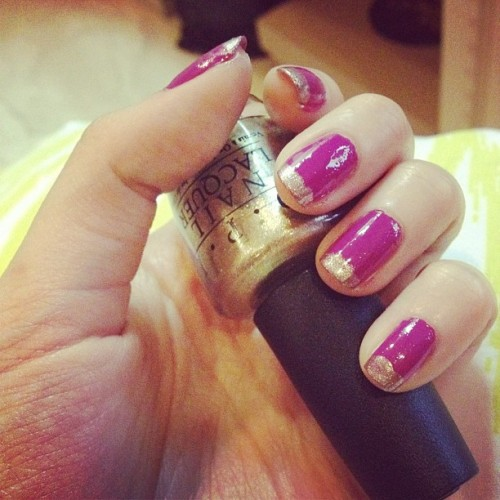 Gold Tips #nails #opi #gold #purple #fuchsia #pretty  (Taken with Instagram)