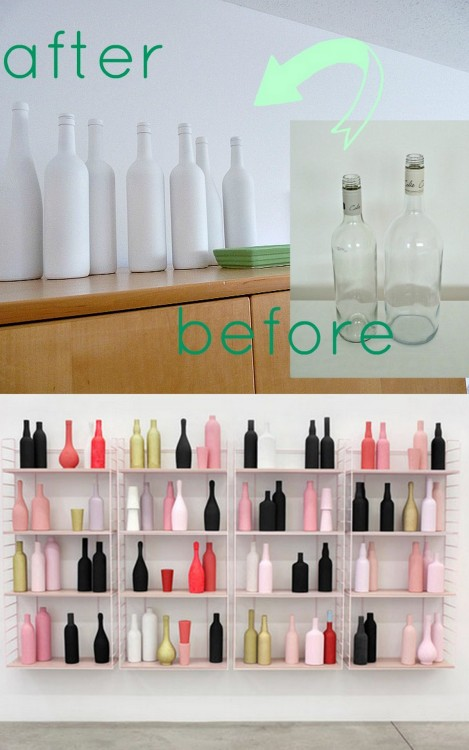 truebluemeandyou:  DIY Spray Painted Wine Bottle Tutorial from Dans le Townhouse here. I'm also posting this because of the photo I saw on her site (Bottom Photo above): Early Retirement, 2011, Matthew Brannon, at Casey Kaplan Gallery.