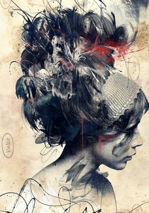 "Digitally Assembled Paintings by Russ Mills ""Artist Russ Mills creates these astonishing images using a wide variety of traditional methods including painting and drawing with ink and pencil, but also utilizing scanned textures including splotches of paint (or ""painting disasters"" as he calls them) as well as photography."" via Colossal"