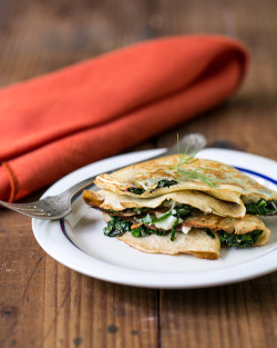 alltheomnoms:  scrumptious—bites:  Grilled Cheese Crepes with Chard and Dill  Recipe