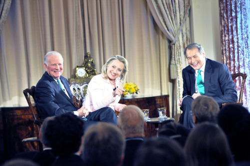 "U.S. Secretary of State Hillary Rodham Clinton and Former U.S. Secretary of State James A. Baker, III participate in a ""Conversation on Diplomacy, Moderated by Charlie Rose"" at the U.S. Department of State in Washington, D.C., on June 20, 2012. [State Department photo/ Public Domain]"