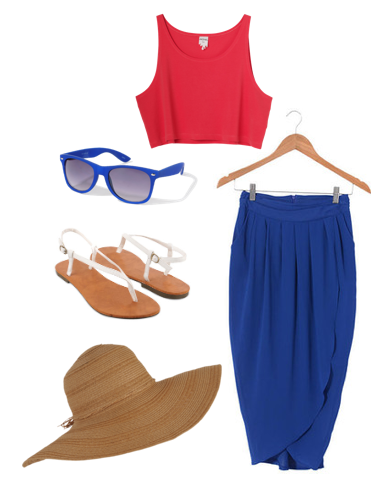 CELEBRATING THE 4TH UNDER $50.00 skirt: forever 21 $19.80crop top tank: forever 21 $5.80t-strap white sandals: forever 21 $7.50blue wayfarer: forever 21 $5.80sun hat: forever 21 $10.80 total: $49.70 without tax