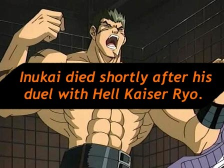 yu-gi-oh-headcanon:  Inukai died shortly after his duel with Hell Kaiser Ryo.  This has been my headcanon for months now.