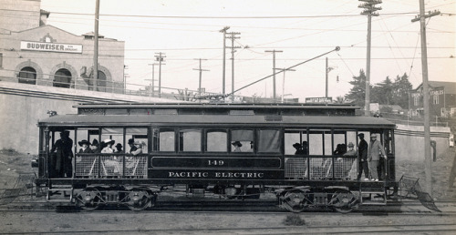 Car 149 on Flickr. 1914 In this photograph, car 149 leaves Santa Monica en route to the Long Wharf (near Sunset Blvd.) This car was built by American Car Co. in 1902 for the San Bernardino Valley Traction Co. and later purchased by the Pacific Electric Railway Company. The car was eventually scrapped in 1926.