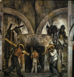 Entering the Mines, 1923, Scenes of Ministry of Education Cycle; by Diego Rivera