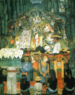 Friday of Sorrows on the Canal of Santa Anita, 1923-1924, Scenes of Ministry of Education Cycle; by Diego Rivera