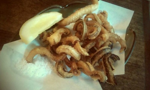 fried eel bones @soba koh, nyc