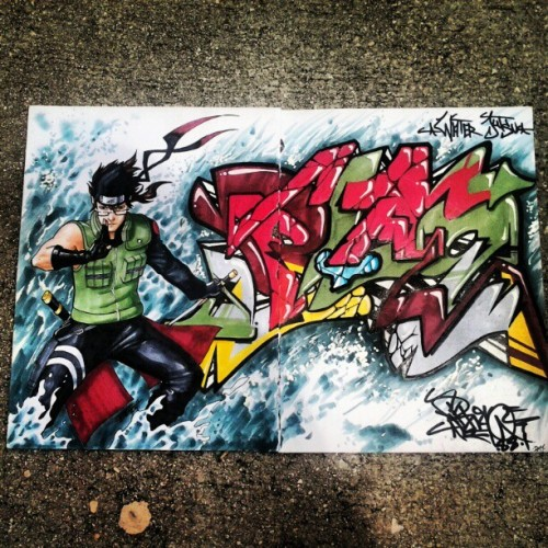 Water Jutsu. #blaq88 #naruto #blackbook #copic #TMI #graffiti #character @fernie187  (Taken with Instagram)