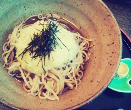 tsuke tororo soba with fresh wasabi:: cold soba w grated yam and quail egg on the side @soba koh, nyc