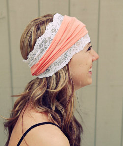 Peach Lace Headband - $20.00