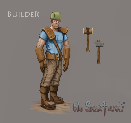Builders could perhaps be called the backbone of the human settlements. As long resources are available a builder will be able to construct anything the settlement may need, be it houses, workshops, fortifications, or simple things such as roads and torches to lit them, regardless of what needs to be built the builder is up to the challenge.