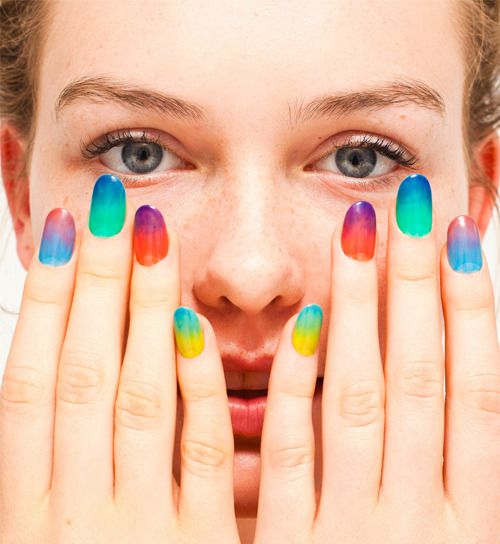 "luckymag:  wgsn:  American Apparel's new ""sheer"" nail polishes are leading the West Coast trend of gradient manicures. (image courtesy of American Apparel)   Love those. Obsessed with those."
