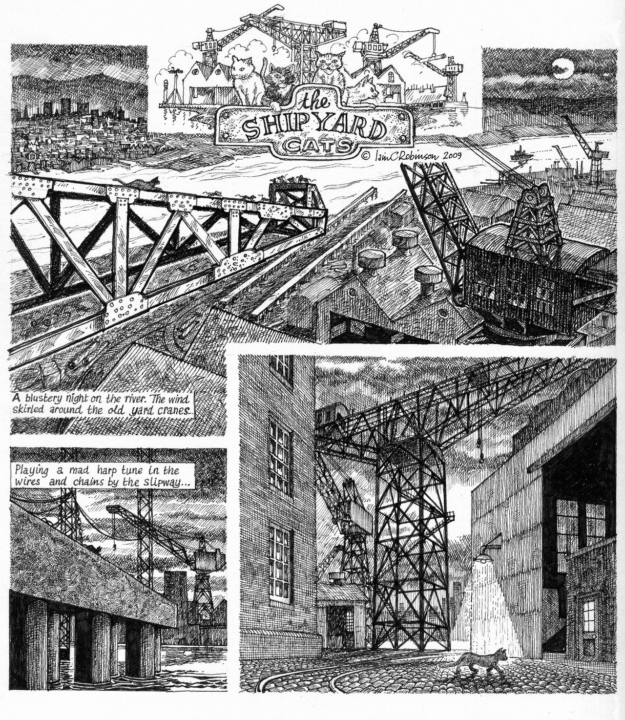 "extract from my graphic novel, ""the shipyard cats"""