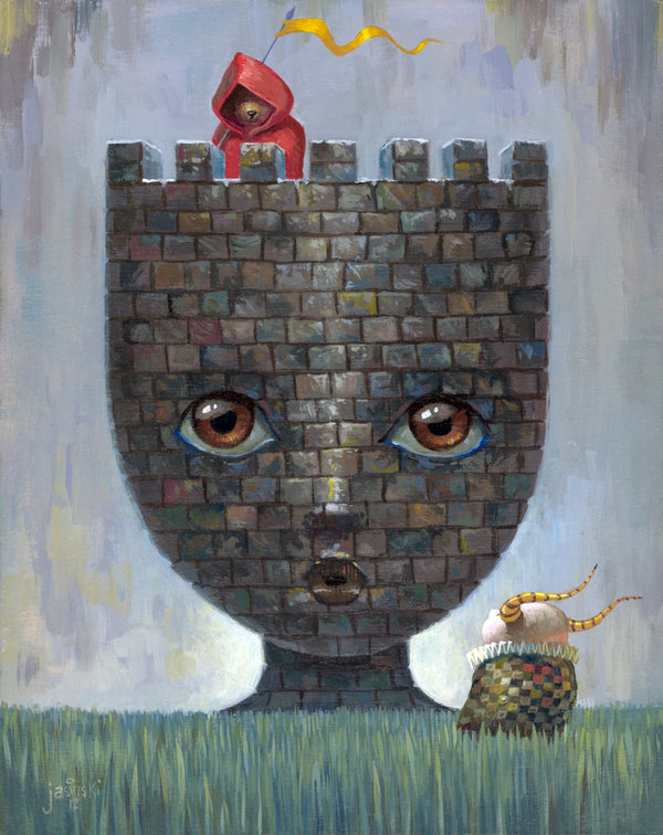 """Sentry"" 8x10 inches. Acrylic on wood panel."