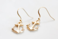 Gold Anchor Earrings - $23.00