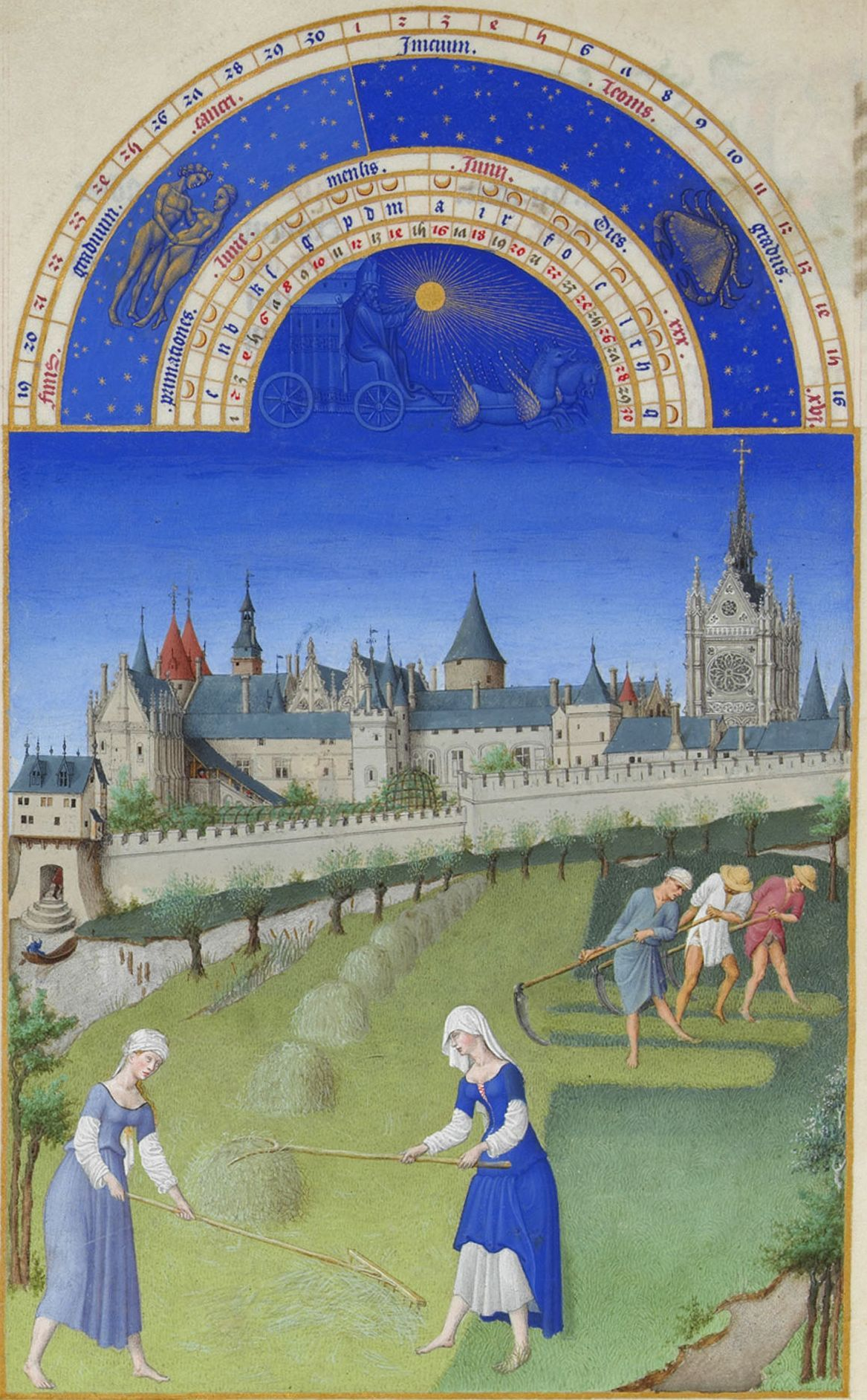 June from Les Très Riches Heures du duc de Berry by the Limbourg brothers, 1412