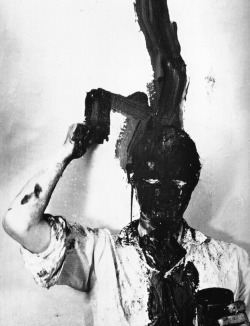 "Günter Brus, Self-Painting, Self-Mutilation (1965) ""Self-painting is a further development of painting. The pictorial surface has lost its function as sole expressive support. It was led back to its origins, the wall, the object, the living being, the human body. By incorporating my body as expressive support, occurrences arise as a result, the course of which the camera records and the viewer can experience…"""