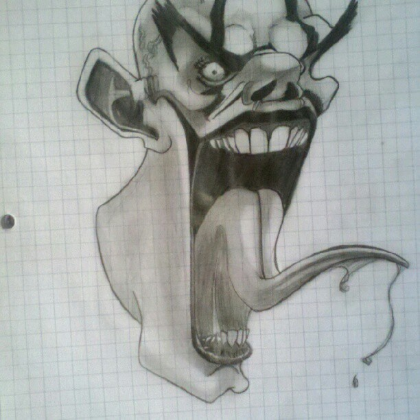#tbt this clown i saw and drew last year (Taken with Instagram)