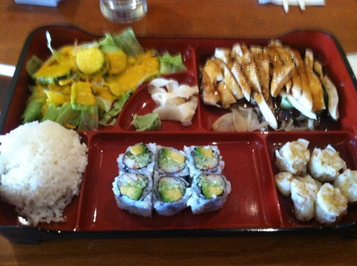 decadentdishny:  the Bento Box from Sushi You consists of chicken teriyaki, California roll, white rice, shumai and a salad was delicious!