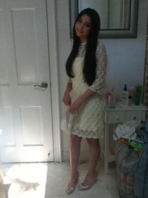My sister, Chloe, in her prom attire. She tried to emulate Priscilla Presley on her wedding day! She looks so beautiful!
