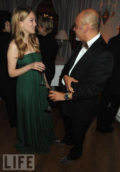 Lea Seydoux and Christian Louboutin at the Vanity Fair and Gucci party honoring Martin Scorsese, May 15th, 2010.