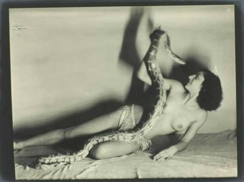 Mademoiselle Dorita, charmeuse de serpents by Man Ray, 1930Also