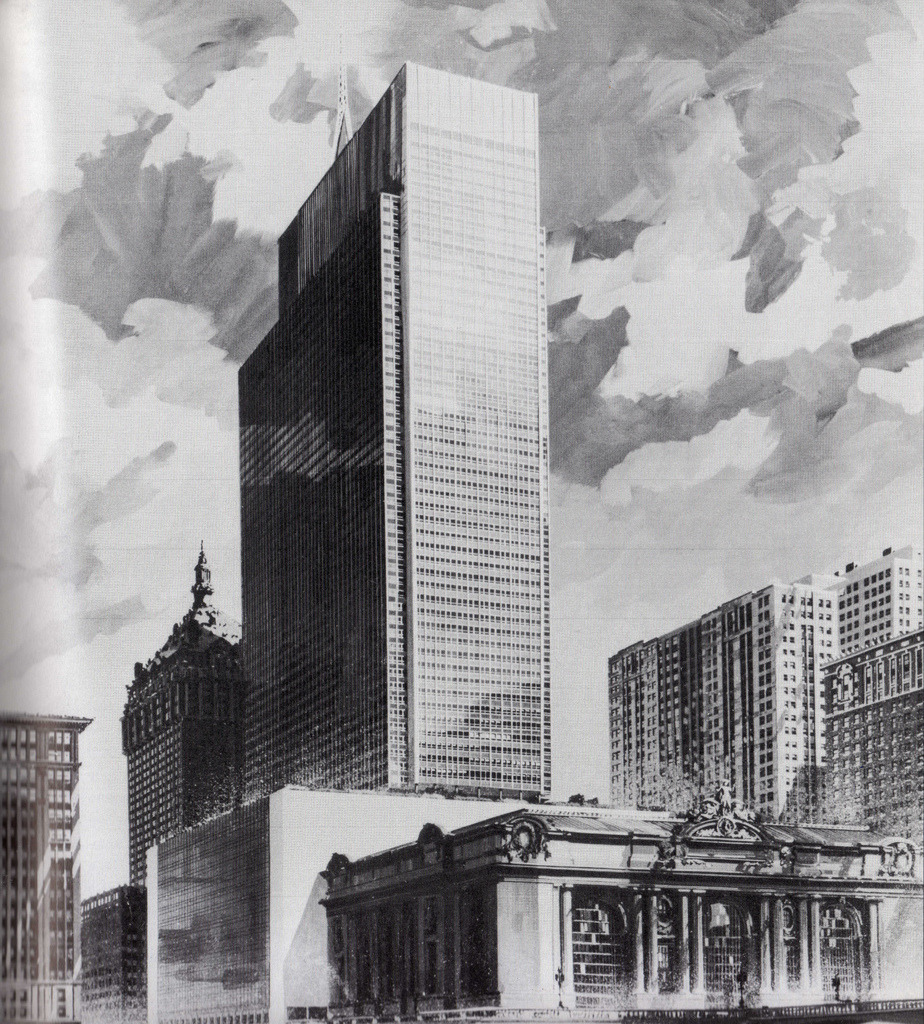 The early design stage of the Grand Central City Building in 1956, New York