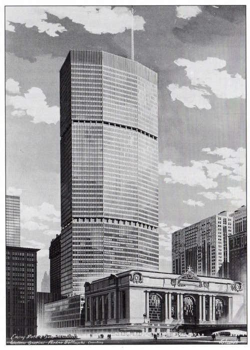 archimaps:  The final design for the Grand Central City Building in 1958, New York