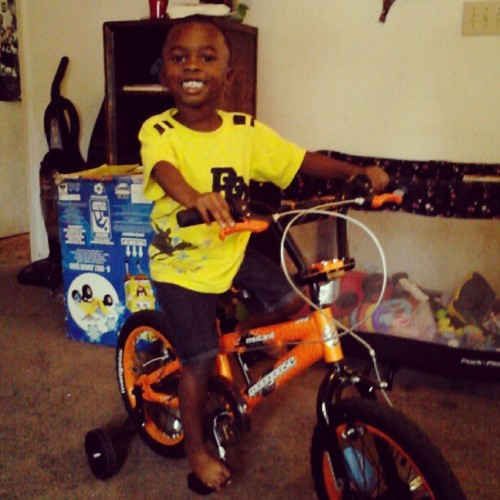 Couldn't wait till his bday to ride the new bike so here we go! Ugh! P.s. phresh cut! (Taken with Instagram)