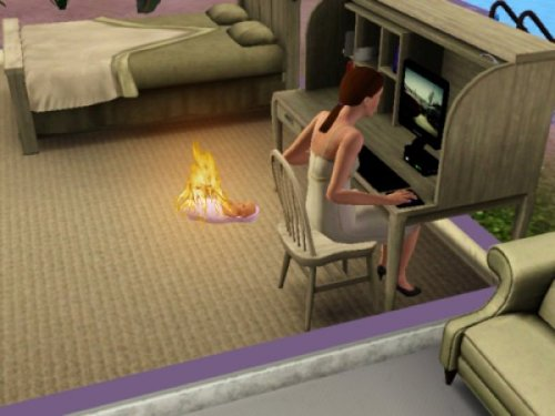 Sims Woman Ignores Burning Baby  Ugh, the baby's crying, but you can never tell what's upsetting her.