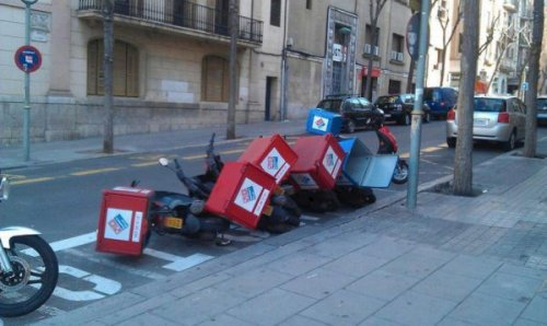 Domino's Delivery Mopeds Knocked Over Like Dominos  Domino effect.