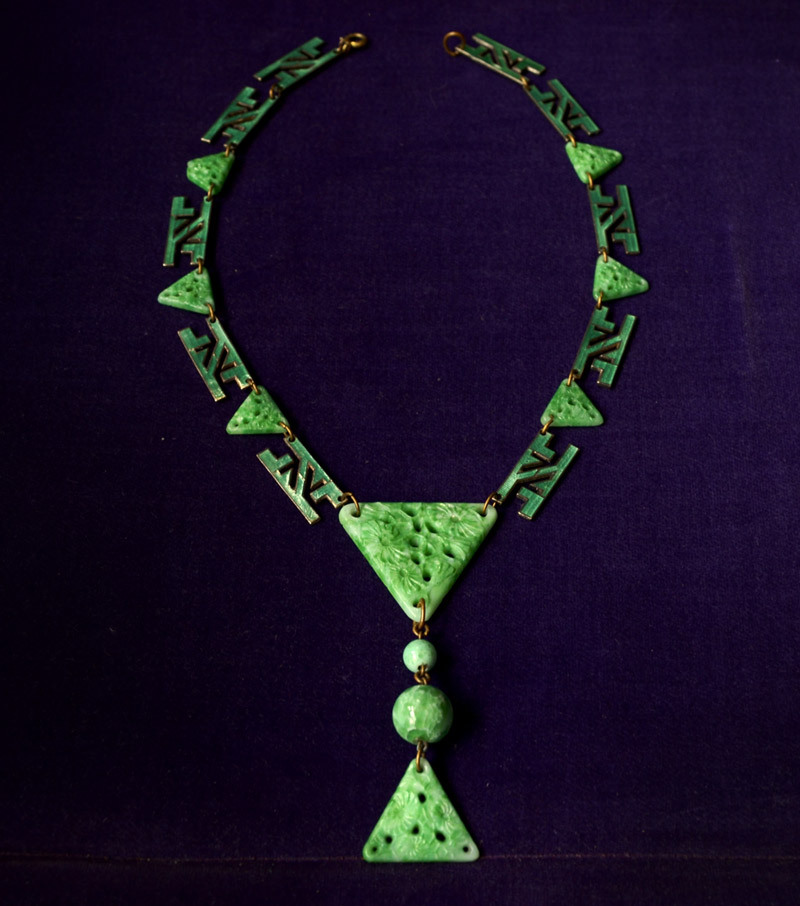 1930s Chinese Art Deco Necklace, Jade Glass, Green Enamel (sold)