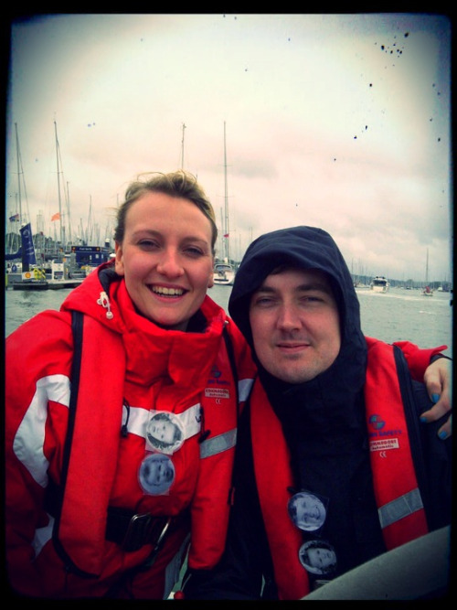 10 June 2012 Ready for sailing in the rain on the Solent! Note our birthday girl pat badges!