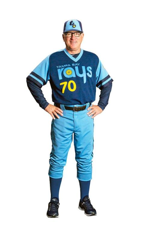 Our Manager, Joe Maddon wearing his Retro Rays Jersey!