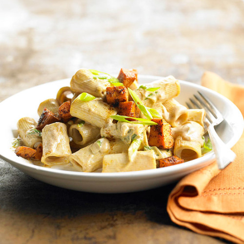 Daily Dish: Chili sauce kicks up the flavor in this Spicy Pasta with Sweet Potatoes.
