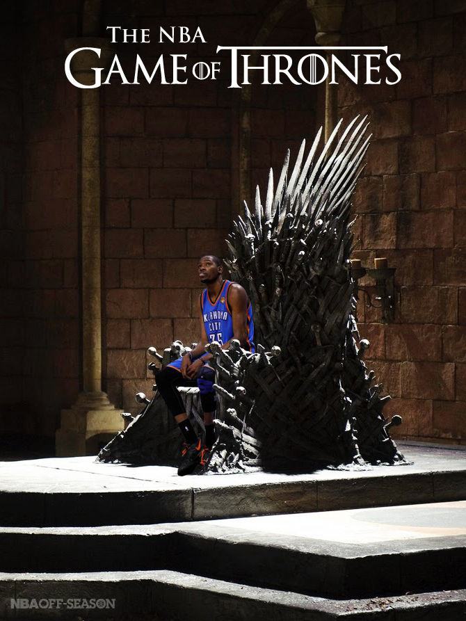 "nbaoffseason:  The NBA Finals is a Game of Thrones… And Kevin Durant leads House Thunder. In the Westeros Conference, the Oklahoma City Thunder are House Stark, specifically the Stark children. The execution of Ned Stark and the burning of Winterfell is a bit too much like the unfortunate demise of the Seattle Supersonics. Because of this, the Thunder children have been on their own, growing wiser and bonding together in their new territory. Kevin Durant is equal parts Robb Stark and Jon Snow (the bastard child of the Supersonics): the noble hero, destined to rule the Throne. Russell Westbrook is Arya Stark: rebellious and courageous; a fearless warrior despite his small stature. James Harden is Sansa Stark: once under the command of Metta World Peace and his elbow, ""Hearteater"", he is now free and is looking to make a name of himself. The other two Stark kids, Bran and Rickon, are Serge Ibaka and Thabo Sefalosha, important role players and members of the main unit. There is also the addition of Derek Fisher and Kendrick Perkins: Osha and Hodor, experienced outcasts using their skills to help the Thunder in their quest for the Throne. It is not yet certain if House Thunder will rule Westeros, but if not this year, then possibly next year, or the year after. Their time will come. Regardless of the outcome of this series, the Thunder have established themselves as a major House in the Six Kingdoms (Divisions), and will be a team to acknowledge in the seasons to come.  CONVERGING INTERESTS!"