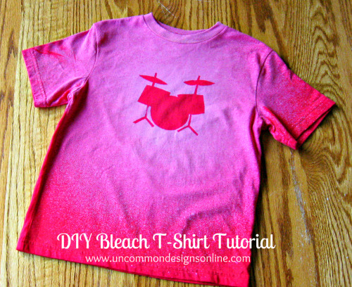 truebluemeandyou:  DIY Bleached Tee Shirt Using Freezer Paper Stencil Tutorial by Uncommon here. Basic easy project first seen at Happy Hour Projects here.  Rainbowsandunicornscrafts: I'm not suggesting handing over bleach to kids, but these are cute ideas for kids' clothes (she even made a onesie with an appliqued drum set on it here).