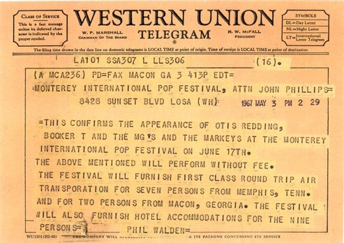 The Western Union telegram confirming performance by Otis Redding, Booker T & The MGs, and The Mar-Keys.
