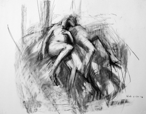"Kimberly TrowbridgeLovers (reclined), 2010Charcoal on Paper, 18"" x 24"