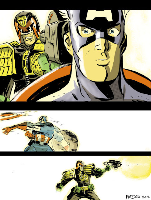 Topical!I always wondered if they'd really want to fight,but Dredd hates vigilantes so I guess the answers yes! By Dan McDaid. (via dan mcdaid: Dredd vs. Cap - the full works!)