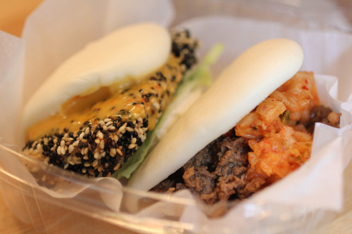 Bulgogi and sesame-crusted tofu buns. Jummum, the East Village.