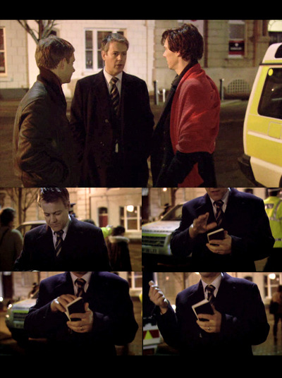 wastingyourgum:  flyingpoisson:  I love how in the pilot, Lestrade tears away the description of the shooter given by Sherlock, clearly aware that it's John who did it. It says a lot about the relationship between Lestrade on Sherlock, and to which lengths the former would go to protect the latter, or at least make sure he's safe/happy.  And for those who may not be aware it's actually a very big deal to remove a page from an official police notebook. That notebook has to stand up as possible admissable evidence in court - any sign it's been tampered with is not good.