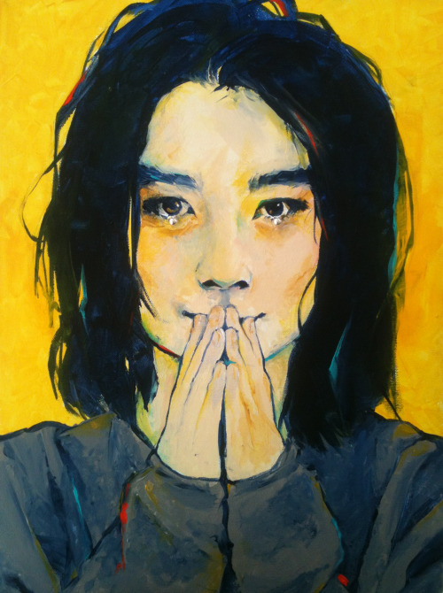 A painting of Björk, for a contest to win a trip to Denmark; acrylic and beading on canvas